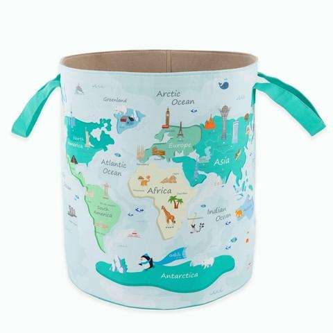 Детская корзина для игрушек синяя-зеленая 35*114*46 см (принт 209-02) Adili