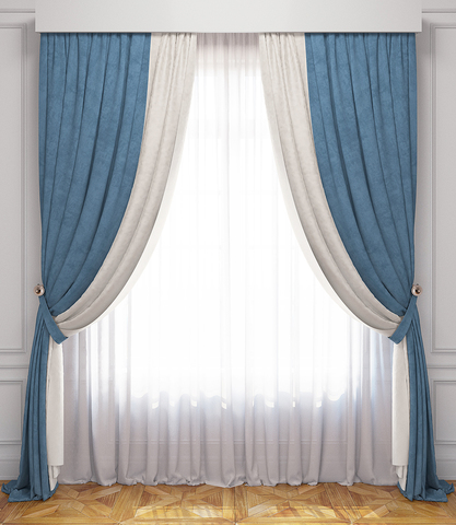 Комплект штор и тюль Ламанш бело-голубой