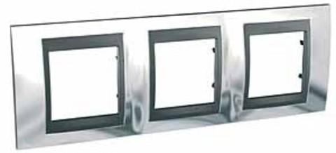 Рамка на 3 поста. Цвет Хром глянцевый-графит. Schneider electric Unica Top. MGU66.006.210