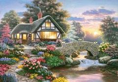 Алмазная Мозаика + Багет 40x50 Дом у моста