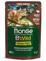 Паучи для кошек крупных пород, Monge Cat BWild GRAIN FREE, с мясом буйвола с овощами