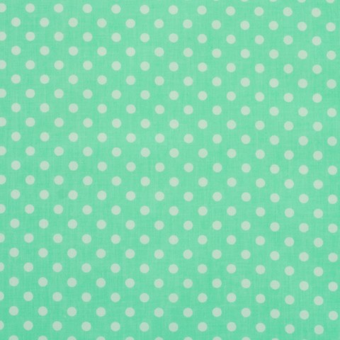 Ткань хлопковая белый горошек на мятном, отрез 50*80 см