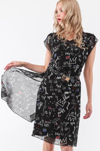 Фото черное двуслойное платье с прозрачным верхом с оригинальным принтом - Платье З443а-110 (1)