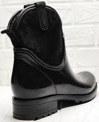 Женские утепленные резиновые сапоги на каблуке 4 см Mida 22377-249 Black.