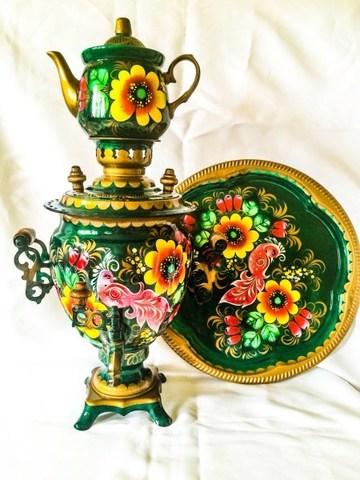Самовар электрический в наборе с подносом и чайником с художественной росписью «Райская птичка»