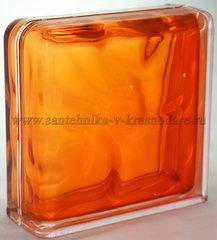 Завершающий стеклоблок оранжевый волна окрашенный изнутри Vitrablok 19x19x8