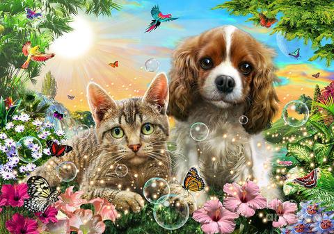 Алмазная Мозаика 40x50 Кошка и собака на сказочном фоне