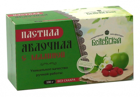 Пастила Белёвская яблочная с малиной без сахара, 100 г