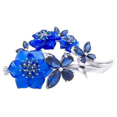 Брошь с цветами из синего кварца и сапфиром Арт.8003сс