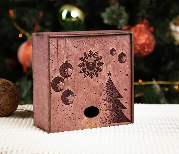 BOX203-3 Деревянная подарочная коробка фиолетового цвета (17*17*7 см)