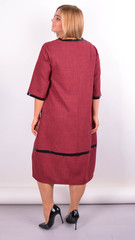 Таіс. Сукня для жінок плюс сайз. Бордо.