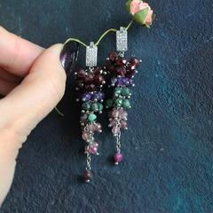 Длинные серьги грозди из натурального граната, аметиста, цоизита и клубничного кварца
