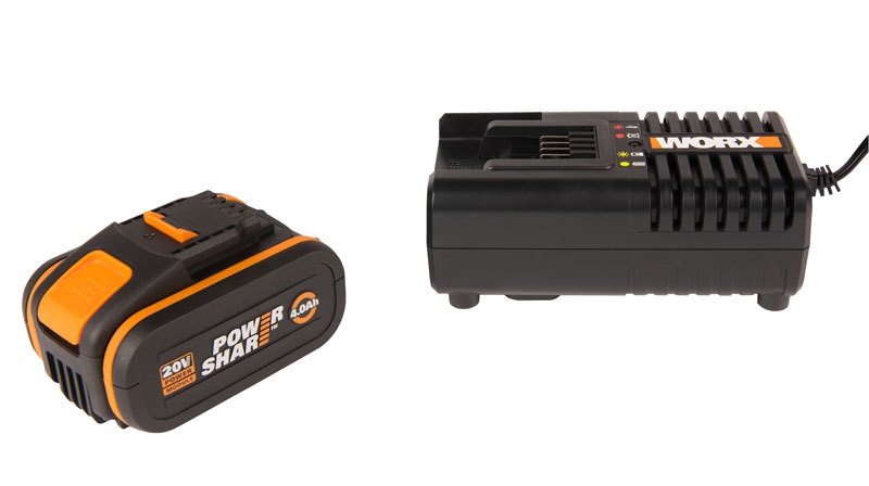 Комплект WORX3604: 1 аккумулятор 4 Ач и зарядное устройство на 2А