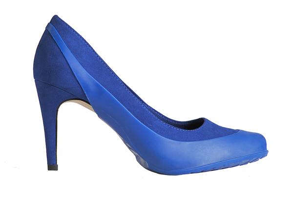 Женские галоши под каблук открытые, темно-синие