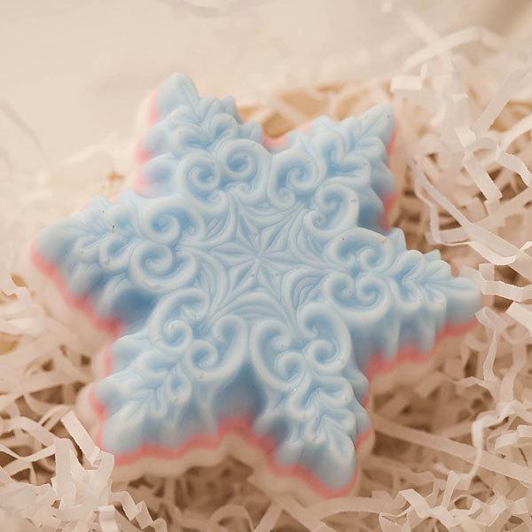 Мыло ручной работы Снежинка большая в завитушках