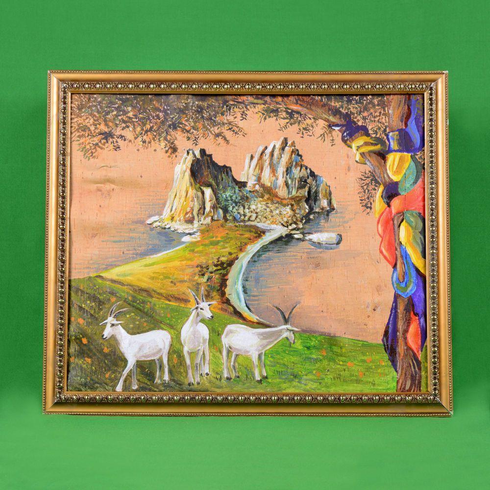 Картина на бересте Байкальские козы