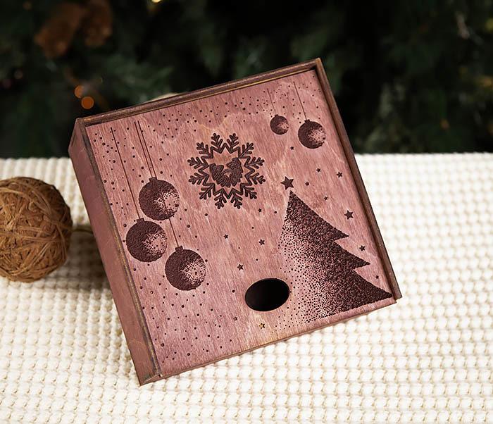BOX203-3 Деревянная подарочная коробка фиолетового цвета (17*17*7 см) фото 02