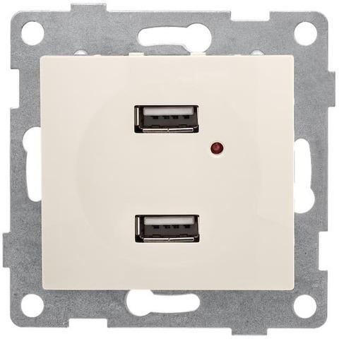 Розетка зарядка USB. Цвет Бежевый. Bravo GUSI Electric. С10USB2-003