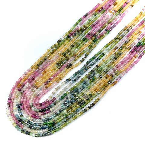 Бусины турмалин градиент АА рондель граненый 2,8х2 мм нить 39 см