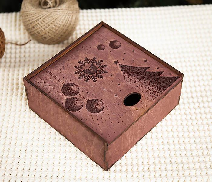 BOX203-3 Деревянная подарочная коробка фиолетового цвета (17*17*7 см) фото 03