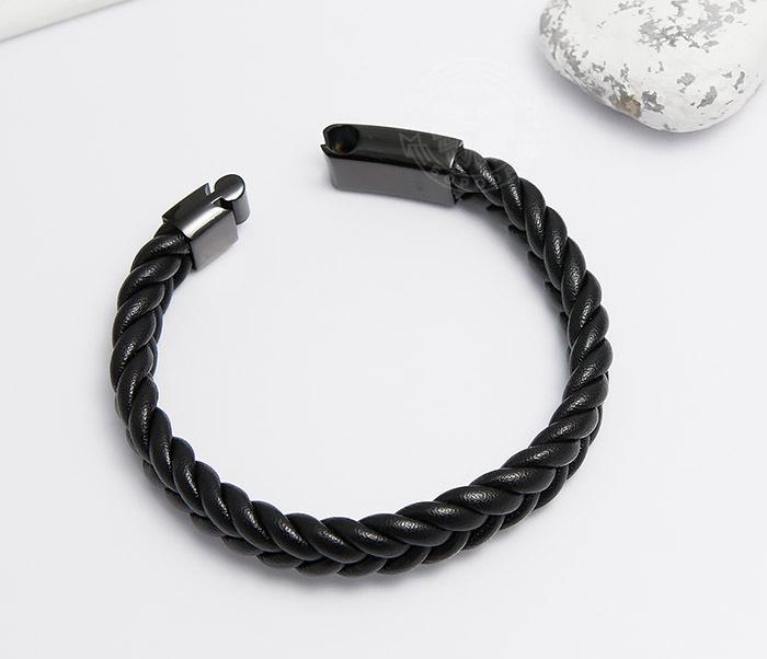 BM472-1 Мужской плетеный браслет черного цвета (20 см) фото 02
