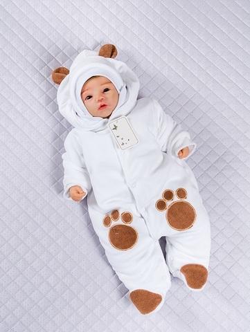Комбинезон велюровый с шапкой для новорожденных Little Bear белый