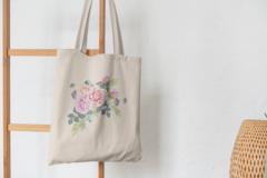 Сумка-шоппер с принтом Цветы (Розы) бежевая 007