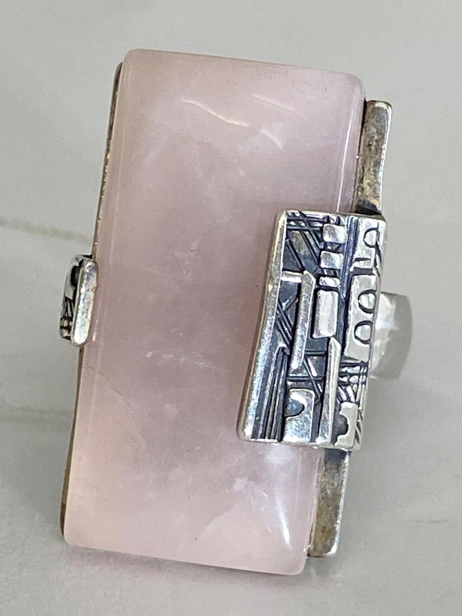 Роз.кварц 28 (кольцо из серебра)