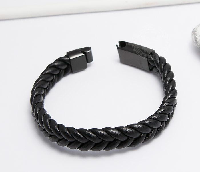 BM472-1 Мужской плетеный браслет черного цвета (20 см) фото 03