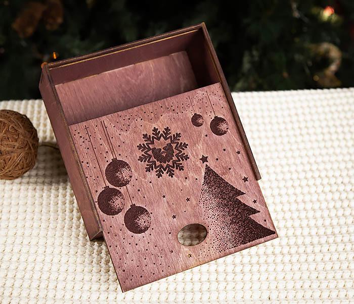 BOX203-3 Деревянная подарочная коробка фиолетового цвета (17*17*7 см) фото 04