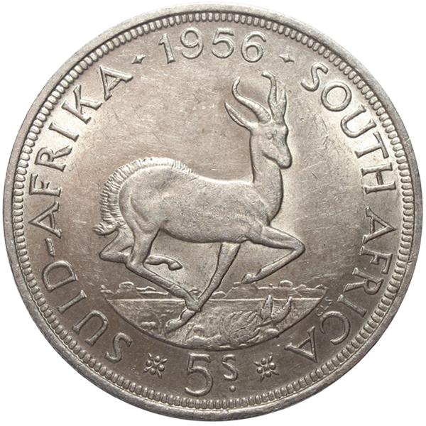 5 шиллингов. Южная Африка. Серебро. 1956 год. XF-AU
