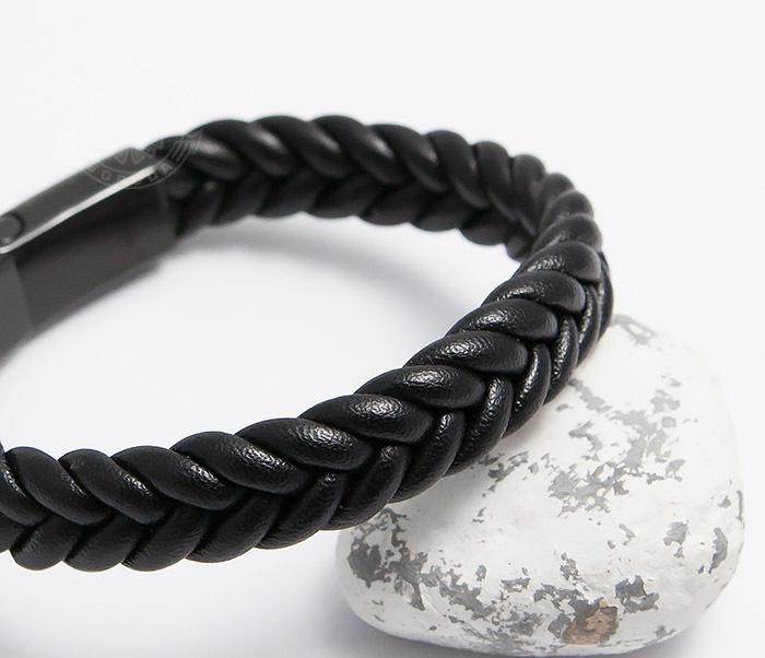 BM472-1 Мужской плетеный браслет черного цвета (20 см) фото 04