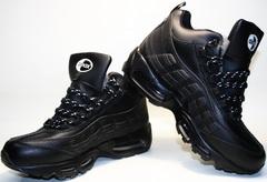 Мужские зимние кроссовки nike air max 95 черные с мехом AM804-2  R