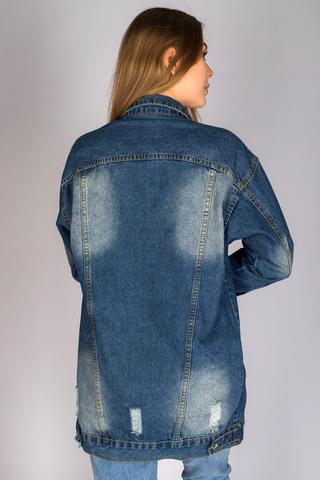 Удлиненная джинсовая куртка женская оптом