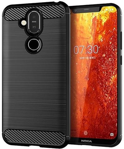 Чехол на Nokia 8.1 (X7) цвет Black (черный), серия Carbon от Caseport