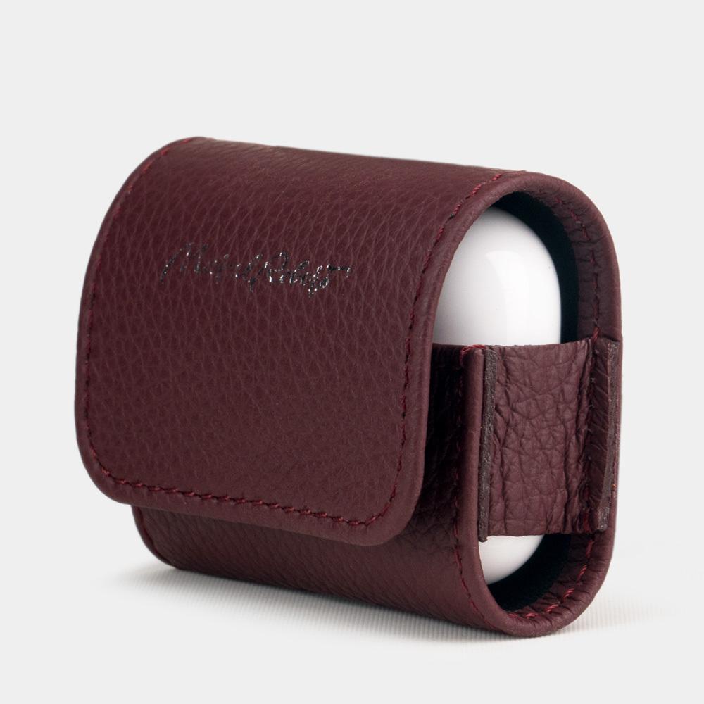 Чехол-держатель для наушников Grand Easy из натуральной кожи теленка, бордового цвета