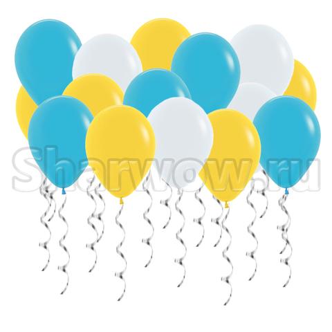 Воздушные шары под потолок Синяя бирюза, желтый и белый