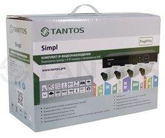 Комплект IP видеонаблюдения на 4 камеры Tantos Simpl