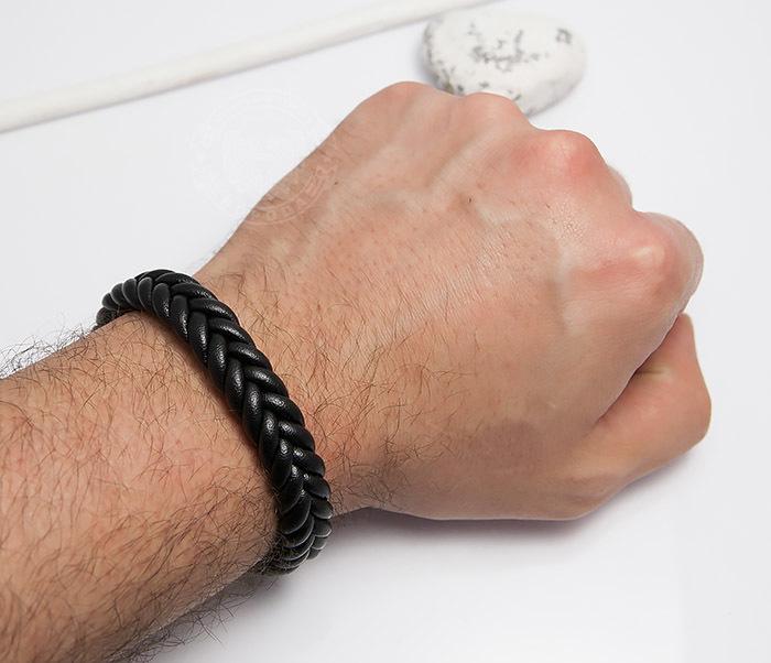 BM472-1 Мужской плетеный браслет черного цвета (20 см) фото 05
