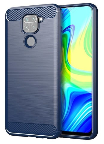 Мягкий чехол темно-синий на Xiaomi Redmi Note 9, серия Carbon от Caseport