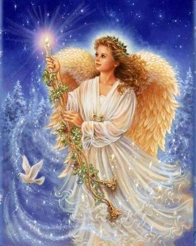 Алмазная Мозаика 40x50 Ангел со свечой (арт. MGL3334 )