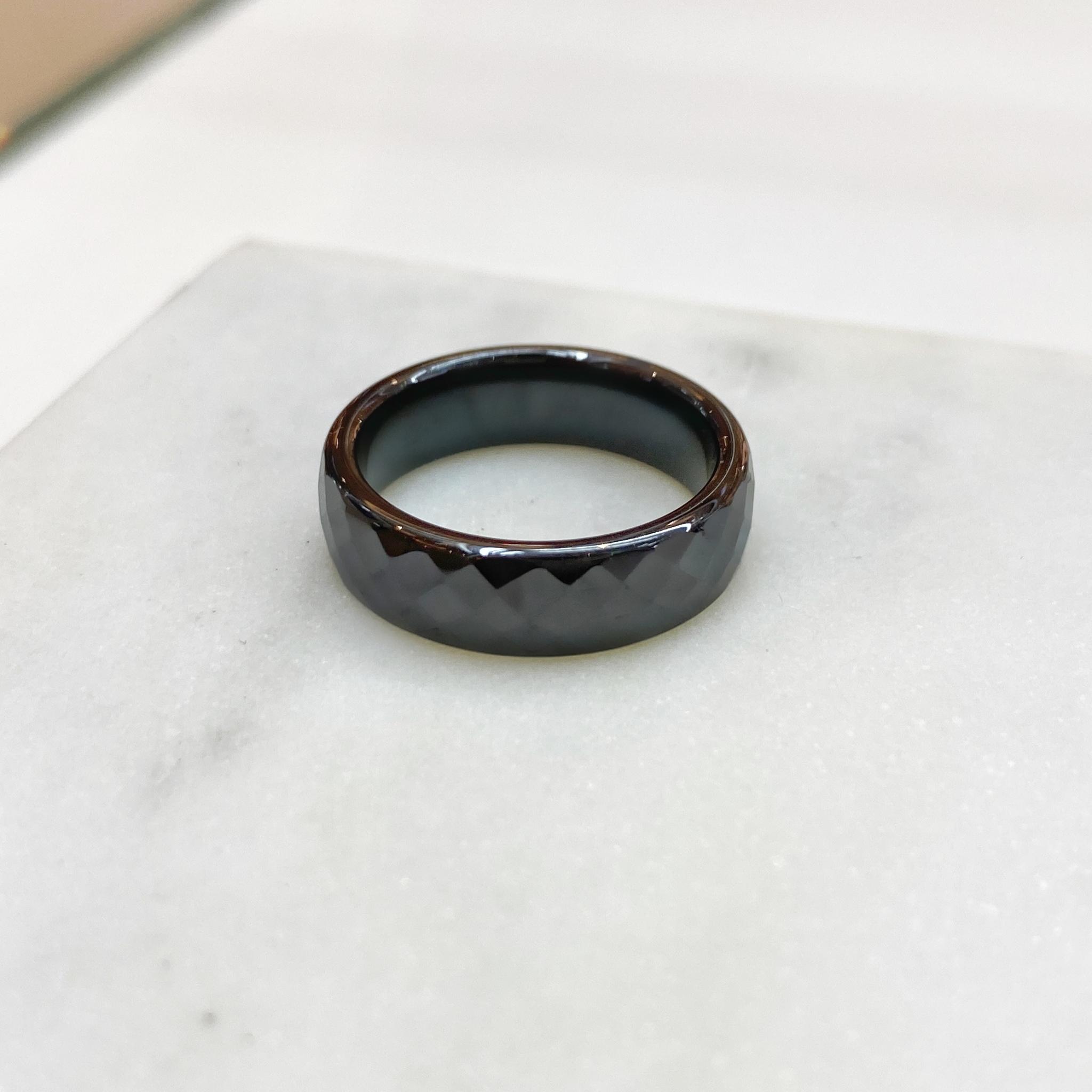 Кольцо Керамика фактурное (черный)