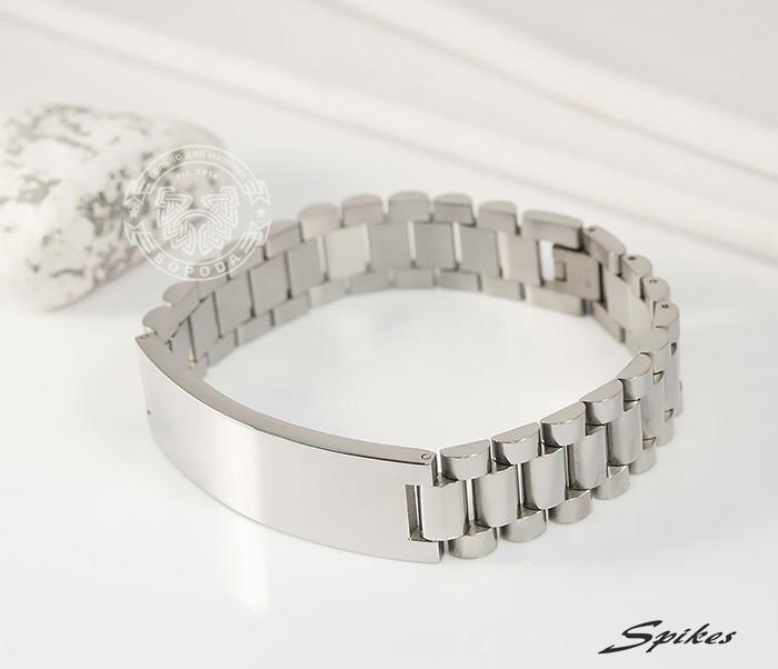 SSBQ-0009-1 Мужcкой браслет из ювелирной стали с пластиной, «Spikes» (21 см) фото 02