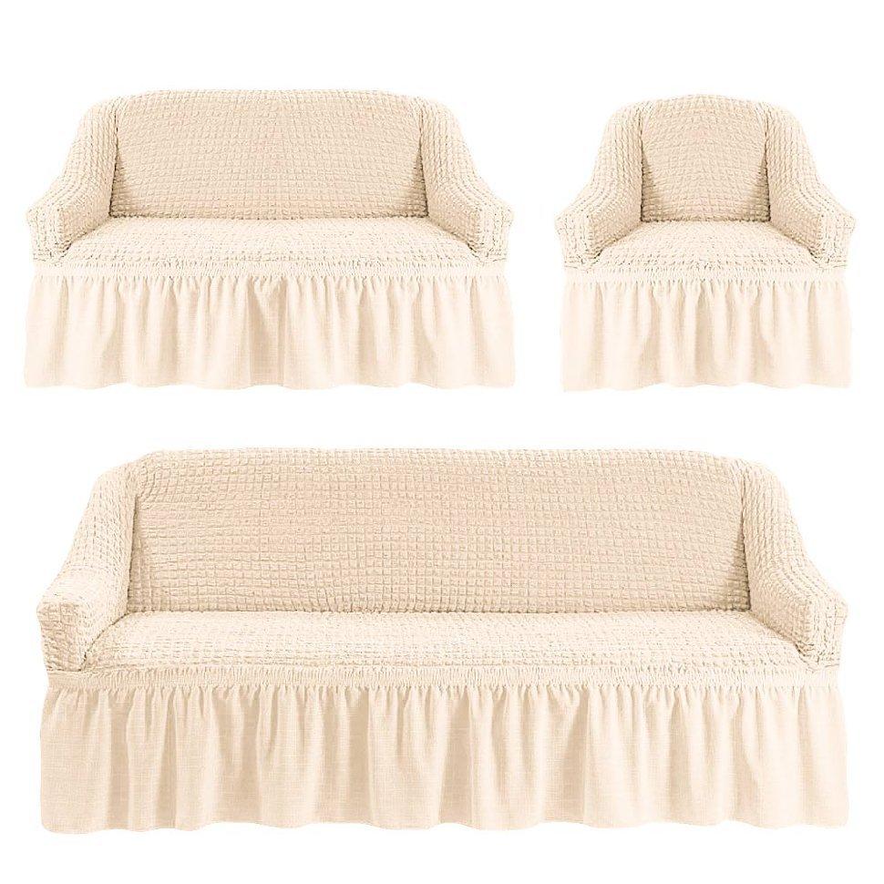 Чехлы на трехместный диван и двухместный диван + кресло, молочный