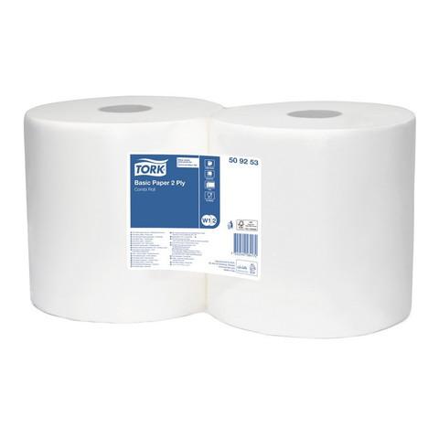 Протирочная бумага в рулонах с центральной вытяжкой Tork 509253 W1/W2 белая (2 рулона по 264 метра)