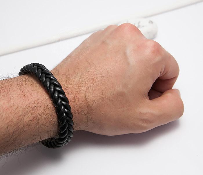 BM472-1 Мужской плетеный браслет черного цвета (20 см) фото 06
