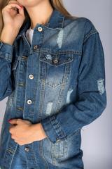 Удлиненная джинсовая куртка женская купить