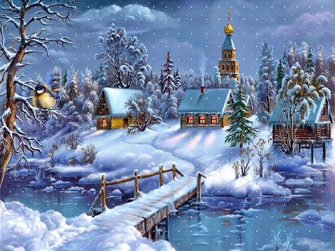 Картина раскраска по номерам 30x40 Мост к зимней деревушке