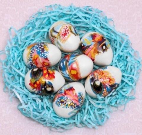 060-0084 Пасхальная термоусадочная плёнка «Пёрышки», на 7 яиц