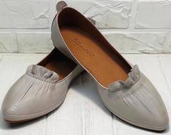 Лодочки балетки туфли с острым носом без каблука Wollen G036-1-1545-297 Vision.